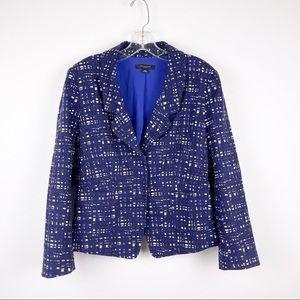 Ann Taylor Blue White Snap Button Career Blazer